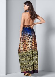 Back View Abstract Print Maxi Dress