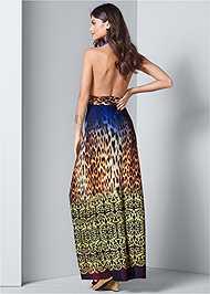 Back View Abstract Print Maxi Dress
