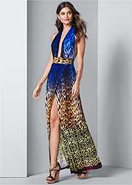 Front View Abstract Print Maxi Dress