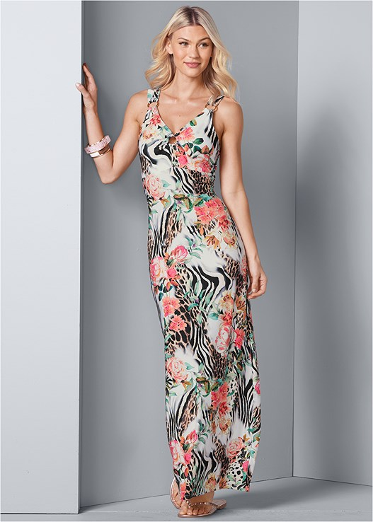 PRINTED MAXI DRESS,NAKED T-SHIRT BRA,STUDDED FLIP FLOPS,MIXED MEDIA BANGLE SET