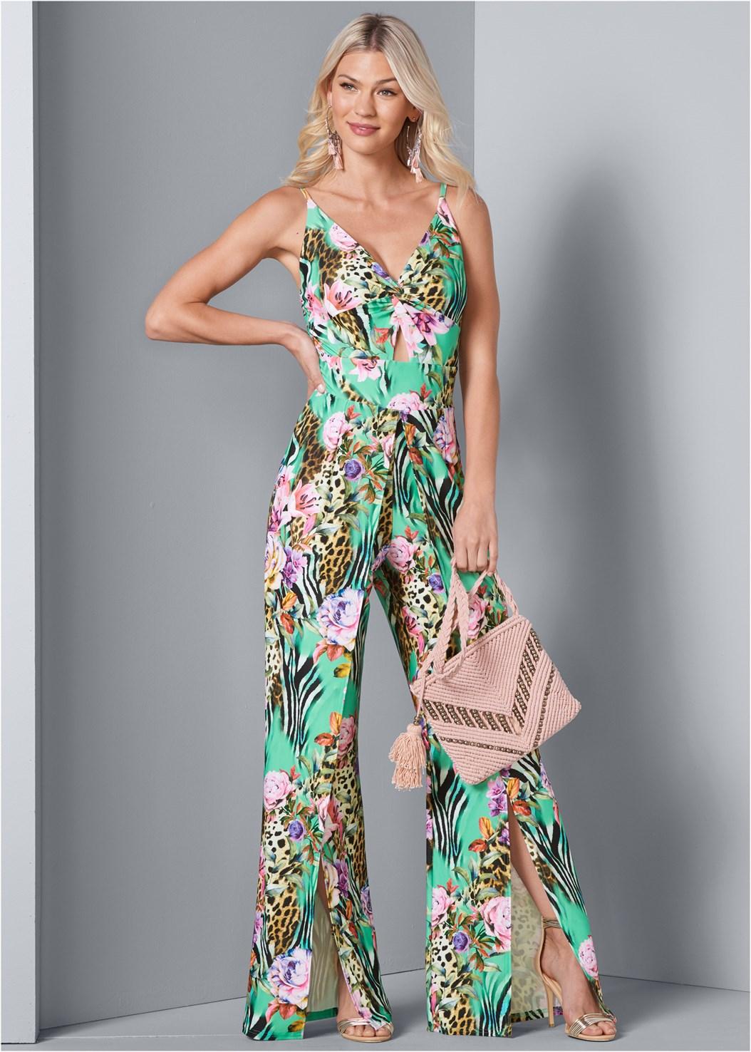 Mixed Print Jumpsuit,Bead Detail Crochet Bag