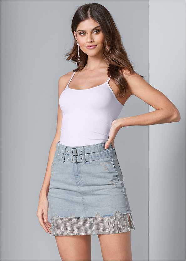 Rhinestone Trim Denim Skirt,Basic Cami Two Pack