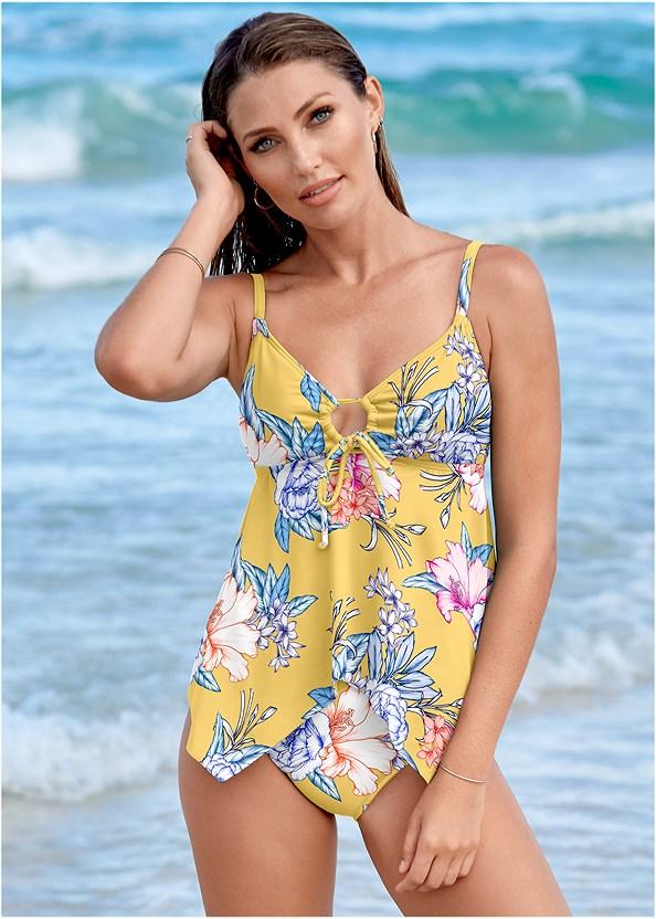 Sharkbite Hem Tankini Top,Mid Rise Swim Skirt Bikini Bottom