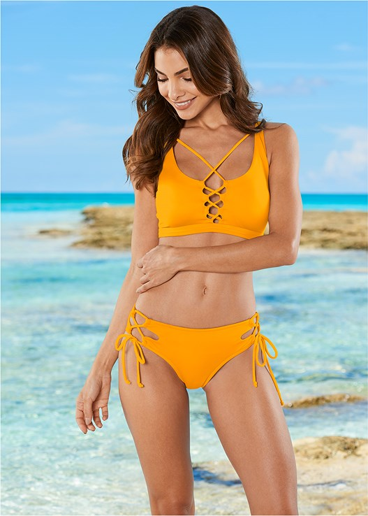 STRAPPY SCOOP SWIM TOP,DOUBLE LOOP TIE SIDE BOTTOM,MID RISE BOTTOM,LOW RISE BIKINI BOTTOM,SCOOP FRONT BIKINI BOTTOM