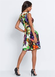 Back View Floral Print Tie Back Dress