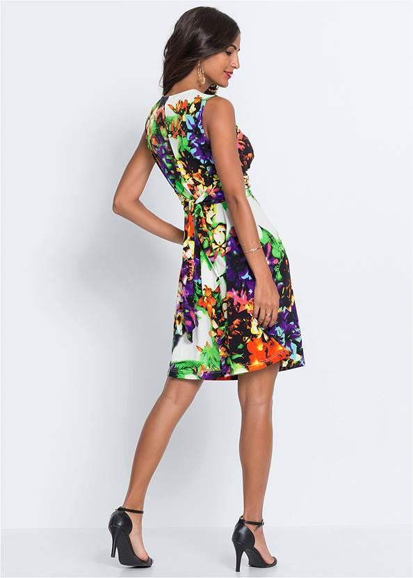 Back View Floral Print Tie Back Dress