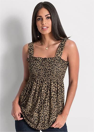 Smocked Leopard Tunic