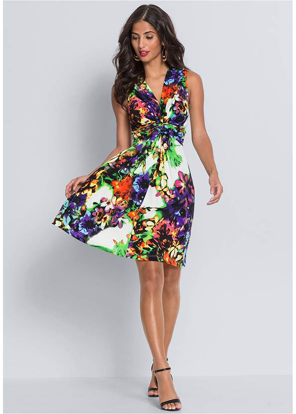 Alternate View Floral Print Tie Back Dress