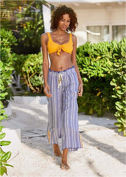 WIDE LEG BEACH PANTS,RETRO SWIM BRALETTE,LOW RISE BIKINI BOTTOM