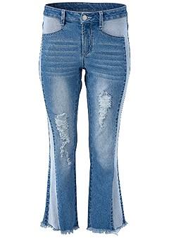 plus size two toned distress jean