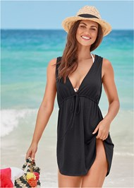 Front View Deep V Cover-Up Beach Dress
