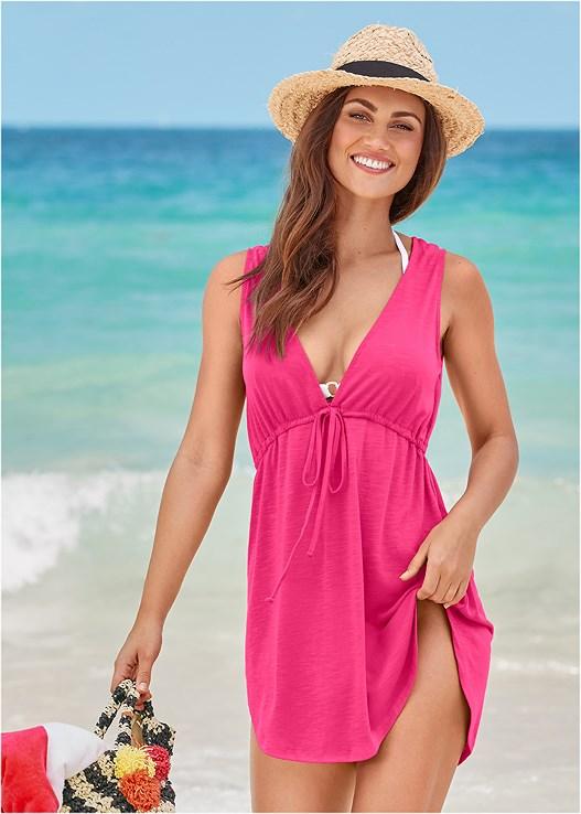 DEEP V COVER-UP BEACH DRESS,ENHANCER PUSH UP TRIANGLE,SCOOP FRONT BIKINI BOTTOM,LOW RISE BIKINI BOTTOM,STRIPED STRAW TOTE