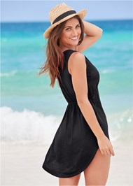 Back View Deep V Cover-Up Beach Dress