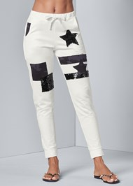 Front View Patchwork Joggers
