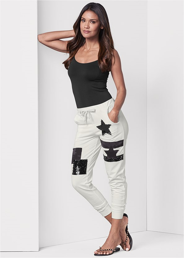 Patchwork Joggers,Basic Cami Two Pack,Studded Flip Flops