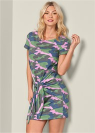 Front View Tie Front Lounge Dress