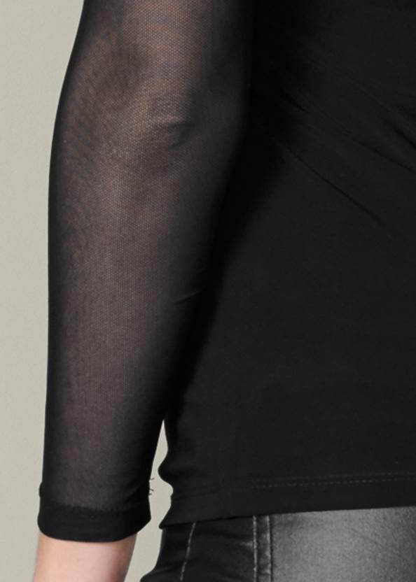 Alternate View Sequin Lace Tassel Top