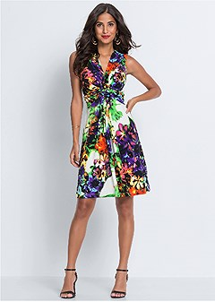 floral print tie back dress