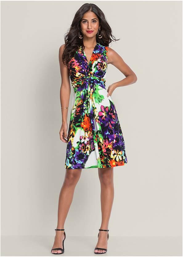 Floral Print Tie Back Dress,Tassel Earrings,Oversized Fringe Earrings,Pleated Tote Bag