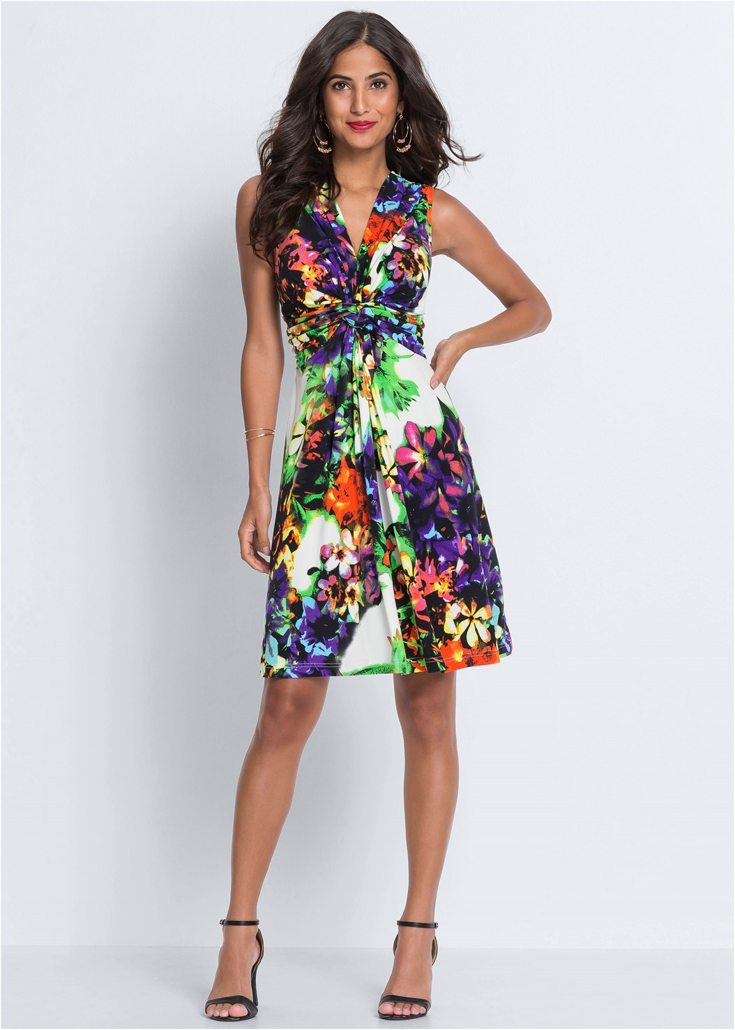 Floral Print Tie Back Dress,Push Up Bra Buy 2 For $40,Crisscross Strappy Heel