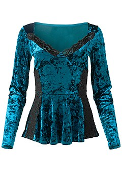 plus size crushed velvet lace top