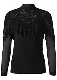 Alternate View Sequin Lace Tassel Top