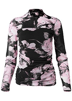 plus size mesh floral print top