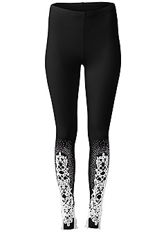 plus size lace detail leggings
