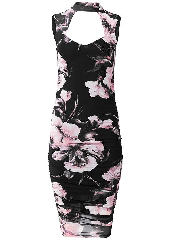Floral Bodycon Ruched Dress,Rhinestone Fringe Earrings