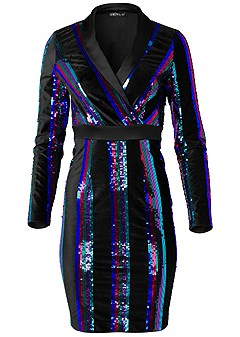 plus size sequin blazer dress