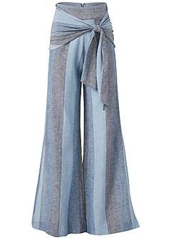 plus size tie front linen pants