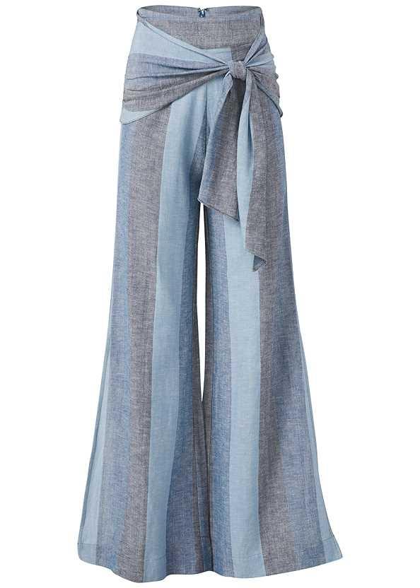 Tie Front Linen Pants,Beaded Tassel Earrings