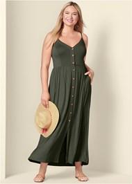 Plus Size Button Front Maxi Dress