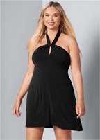 plus size halter tie dress