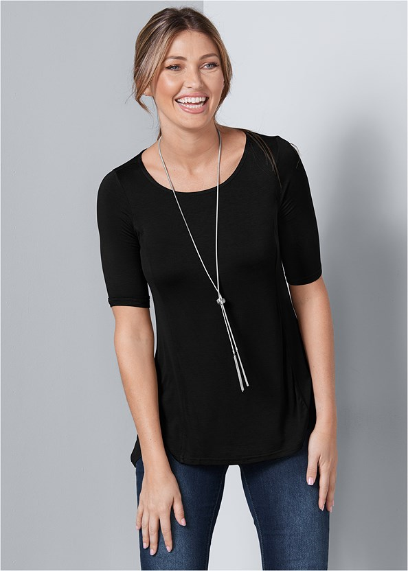 Boat Neck A-Line Top,Mid Rise Color Skinny Jeans,Wrap Stitch Detail Booties