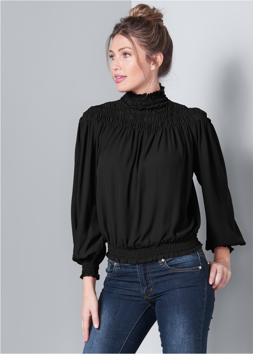 Smocked Detail Top,Mid Rise Color Skinny Jeans,Mid Rise Slimming Stretch Jeggings,Lurex Lace Detail Bra