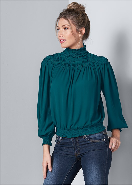SMOCKED DETAIL TOP,COLOR SKINNY JEANS,SLIMMING STRETCH JEGGINGS,LUREX LACE DETAIL BRA,LACE UP TALL BOOTS