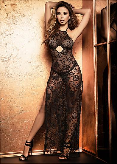 Sheer Lace Long Gown