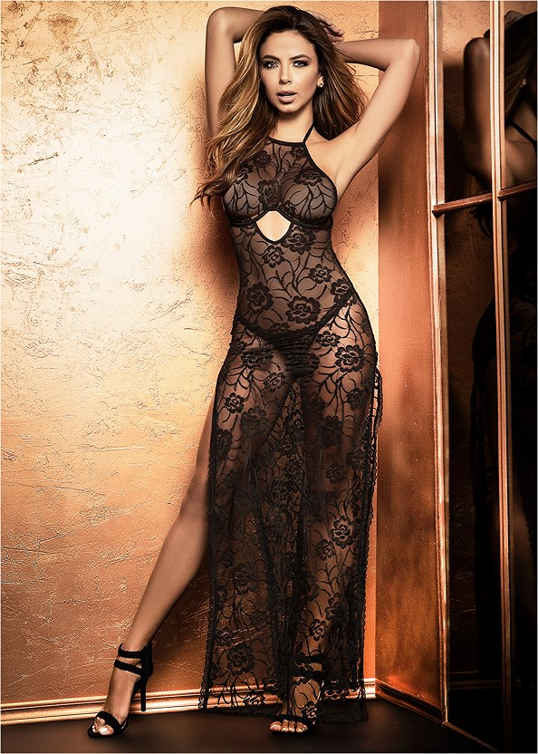 Sheer Lace Long Gown,Embellished Strappy Heel