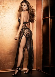 Cropped  view Sheer Lace Long Gown