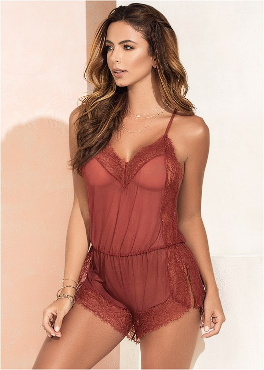 SHEER ROMPER WITH LACE,STUDDED STRAPPY HEELS