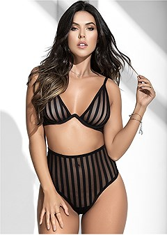 striped bra panty set