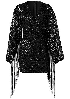 plus size fringe sleeve sequin dress