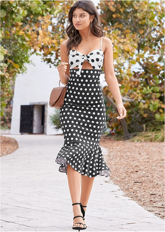 POLKA DOT DRESS,HIGH HEEL STRAPPY SANDALS