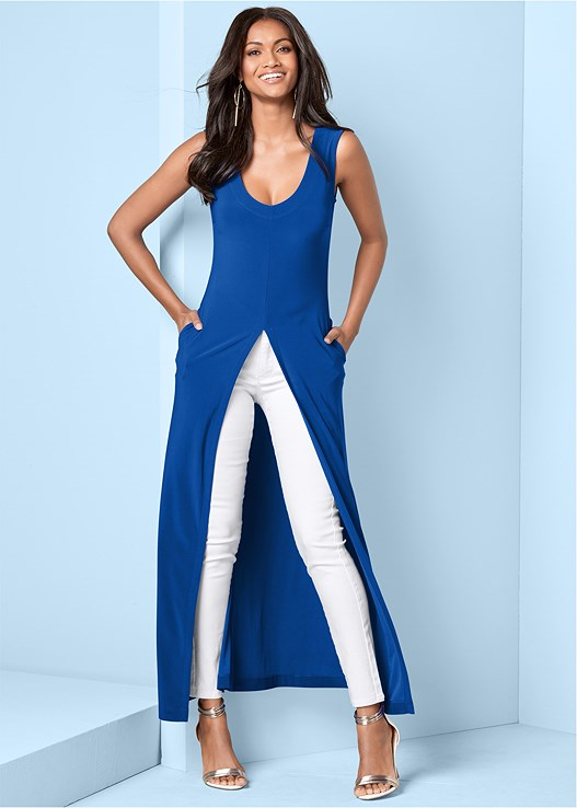 MAXI TOP,BUM LIFTER JEANS,HOOP DETAIL EARRINGS