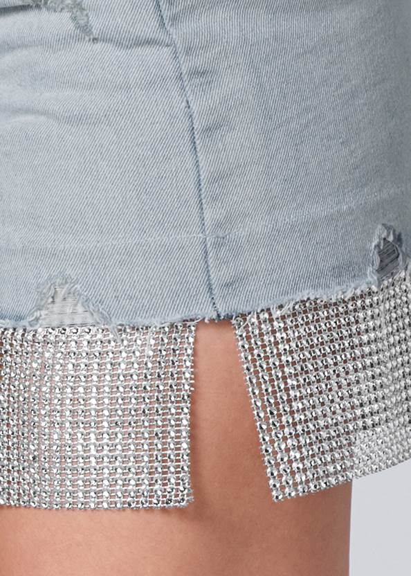 Alternate View Rhinestone Trim Denim Skirt