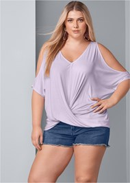 Front View Cold Shoulder Twist Top