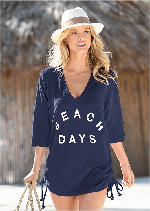 DEEP V BEACH COVER-UP,PANAMA HAT,SEQUIN AND STRAW TOTE