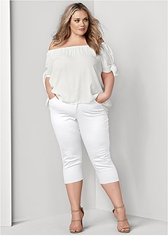plus size color capri jeans
