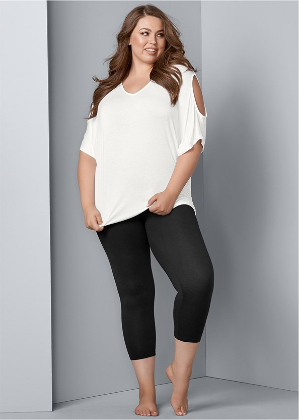 Basic Capri Leggings,Cold Shoulder V-Neck Top